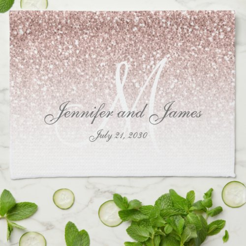 Blush Rose Gold Glitter Monogram Newlywed Wedding Hand Towel