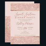 "Blush rose gold glitter typography Sweet Sixteen Invitation<br><div class=""desc"">A modern,  pretty chic and elegant faux rose gold glitter with stripe with blush pink color block Sweet Sixteen birthday party invitation with rose gold stripe. Perfect for a chic party.</div>"