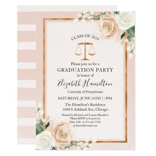 Blush Rose Gold Law School Graduation Party Invitation Zazzle Com