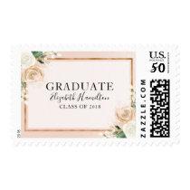 Blush & Rose Gold Modern Floral Graduation Postage