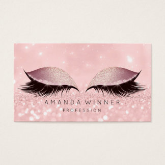 Blush Rose Gold Pink Lashes Makeup Eyes Glitter Business Card