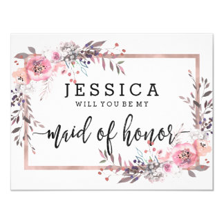 Blush & Rose Gold Will You Be My Maid of Honor Invitation
