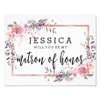 Blush & Rose Gold Will You Be My Matron of Honor Invitation