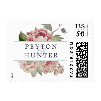 Blush Rose Personalized Wedding Postage