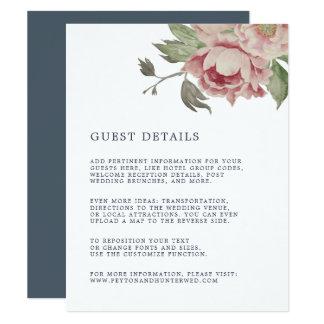 Blush Rose Wedding Guest Details Card