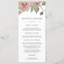 Blush Rose Wedding Menu Card