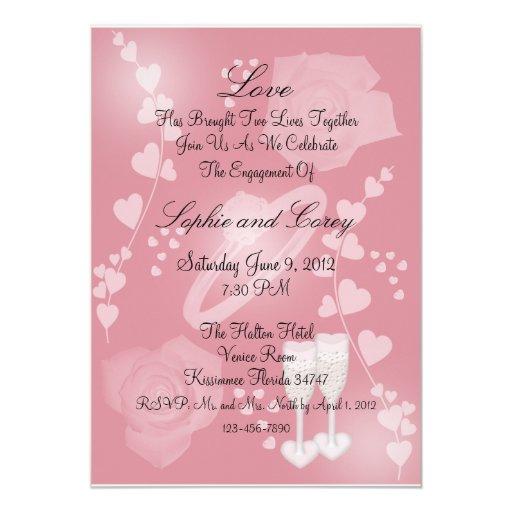 Blush Roses Engagement Card Invitation