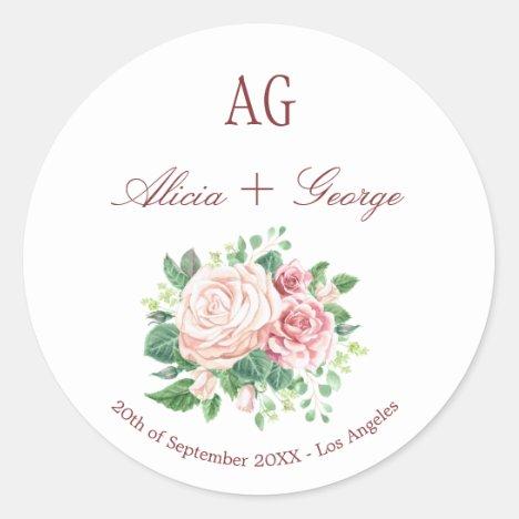Blush Roses Monogrammed Wedding Seal Envelope