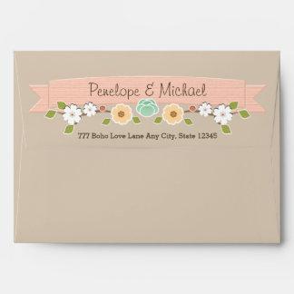 """Blush Rustic Floral Boho A7 5""""x7"""" Envelope Khaki"""
