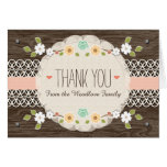 BLUSH RUSTIC FLORAL BOHO BABY SHOWER THANK YOU STATIONERY NOTE CARD