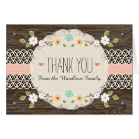 BLUSH RUSTIC FLORAL BOHO BABY SHOWER THANK YOU GREETING CARDS