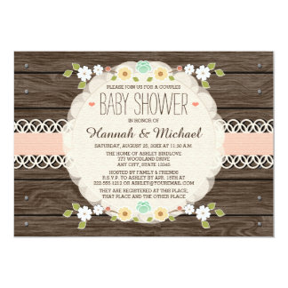 BLUSH RUSTIC FLORAL BOHO COUPLES BABY SHOWER 5X7 PAPER INVITATION CARD