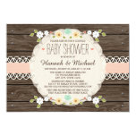 BLUSH RUSTIC FLORAL BOHO COUPLES BABY SHOWER CARD