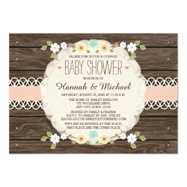 Toddler & Baby themed BLUSH RUSTIC FLORAL BOHO COUPLES BABY SHOWER CARD