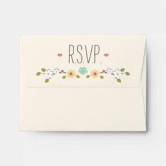 Blush Rustic Floral Boho RSVP Wedding Envelope