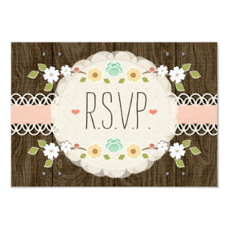 BLUSH RUSTIC FLORAL BOHO WEDDING RSVP CARD