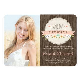 BLUSH Rustic Floral Graduation Photo Announcement