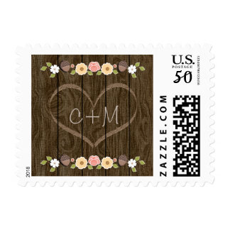 Blush Rustic Love Carved Initials Heart Wedding Postage
