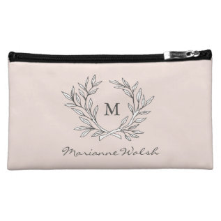 Blush Rustic Monogram Wreath Bridal Party Gift Bag at Zazzle