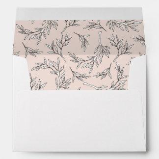 Blush Rustic Monogram Wreath Invitation Envelope