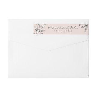 Blush Rustic Monogram Wreath Invitation Envelope Wraparound Return Address Label