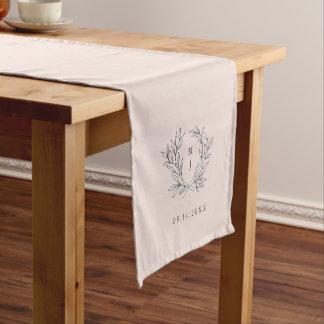Blush Rustic Monogram Wreath ReceptionTable Runner Short Table Runner