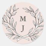 Blush Rustic Monogram Wreath Sticker