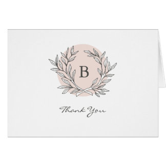 Blush Rustic Monogram Wreath Thank You Note Card