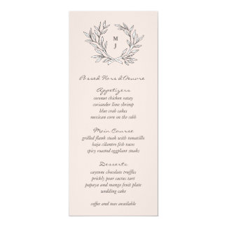 Blush Rustic Monogram Wreath Weddin Reception Menu Card