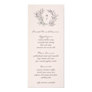 Blush Rustic Monogram Wreath Weddin Reception Menu Card