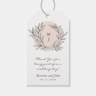 Blush Rustic Monogram Wreath Wedding Favor Tag Pack Of Gift Tags
