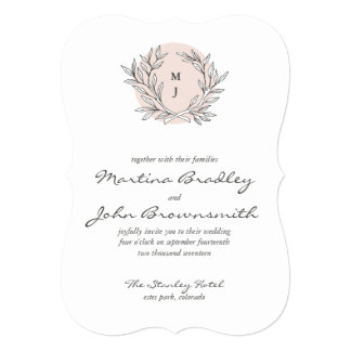 Blush Rustic Monogram Wreath Wedding Invitation