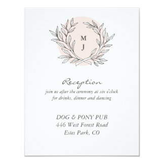 Blush Rustic Monogram Wreath Wedding Reception Card