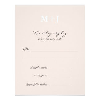 Blush Rustic Monogram Wreath Wedding RSVP reply 4.25x5.5 Paper Invitation Card