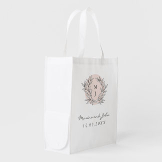 Blush Rustic Monogram Wreath Wedding Thank You Bag Market Tote