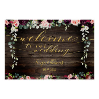 Blush Rustic Wood Gold Fancy Calligraphy Welcome Poster