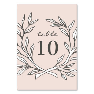 Blush Rustic Wreath Wedding Reception Table Number Card