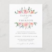 Blush & Sage Watercolor Floral Wedding Invitations