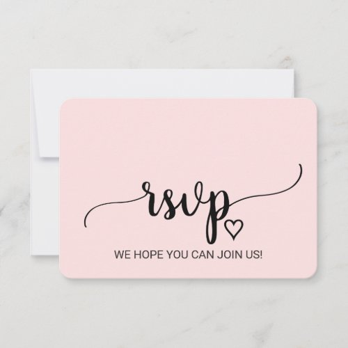 Blush Simple Calligraphy Song Request RSVP Card