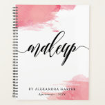 "Blush Smudges - Calligraphy Makeup Artist Planner<br><div class=""desc"">Chic spiral planner or appointment book for a makeup artist with makeup written in a gorgeous black calligraphy script against a white background splashed with watercolor of different hues of pink. Add your name and the year.</div>"