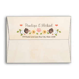 Blush String of Lights Acorn Fall Wedding Envelope