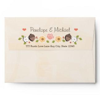 Blush String of Lights Acorn Fall Wedding Envelope