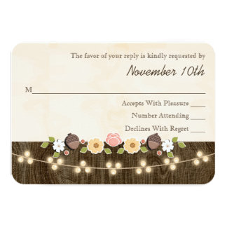 Blush String of Lights Acorn Rustic Wedding RSVP Card