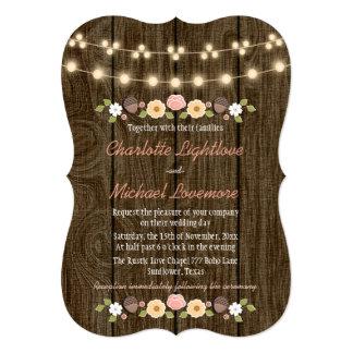 Blush String of Lights Fall Rustic Acorn Wedding Card