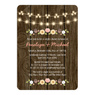 Blush String of Lights Fall Rustic Couples Shower 5x7 Paper Invitation Card