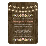 Blush String of Lights Fall Rustic Couples Shower Card
