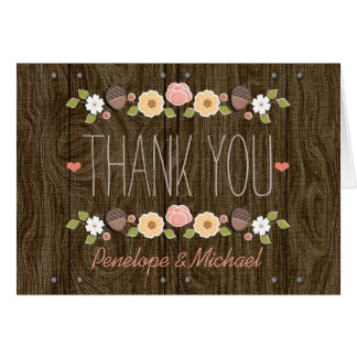 Blush String of Lights Fall Rustic Thank You Card