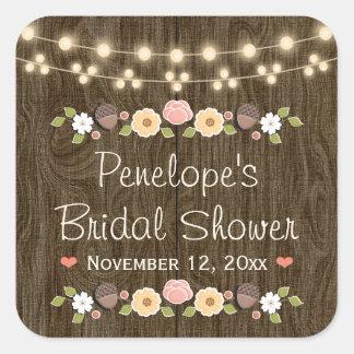 Blush String of Lights Rustic Fall Bridal Shower Square Sticker