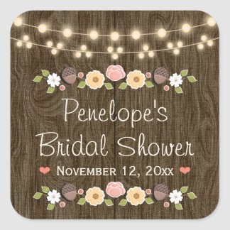Blush String of Lights Rustic Fall Bridal Shower Square Sticker
