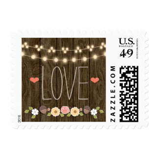 Blush String of Lights Rustic Fall Love Wedding Postage